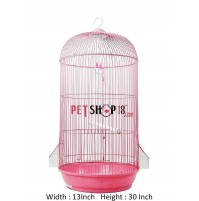 Cylindrical Shaped Bird Cage Medium Pink
