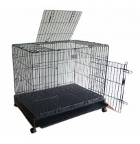 XL Metal Folding Double Door Dog Cage With Wheels