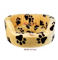 Paw Printed Bed In Yellow Color Large