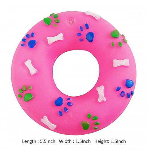 Super Dog Dog Toy Paw and Bone Printed Squeaky Rubber Ring