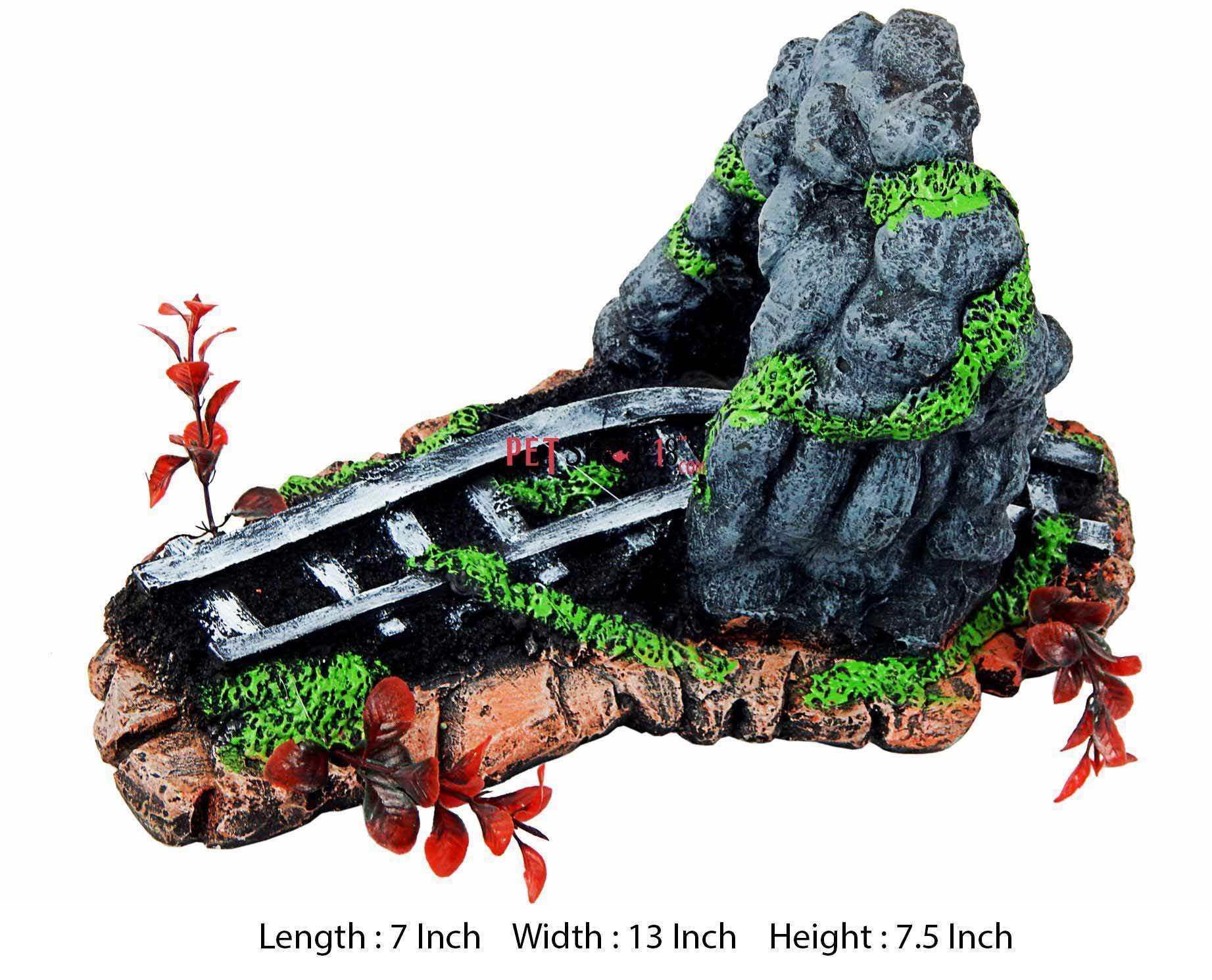 Fish tank aquarium castle hill - Railway Track Under Hill Aquarium Toy