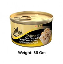 Sheba Deluxe Cat Treats Tuna Fillets And Whole Prawns In Gravy Can 85 Gm
