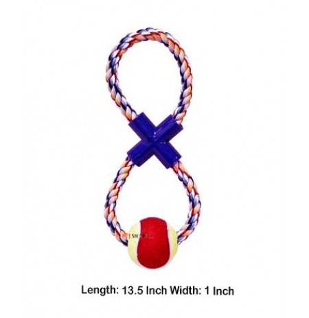 Super Dog Cotton X Knot Eight Shape Rope Toy With Tennis Ball