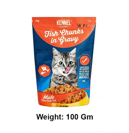 Kennel Kitchen Cat Treats Fish Chunks In Gravy Pouch 100 Gm