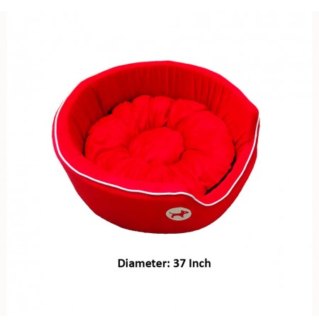 Red Bed With Dog Print Large